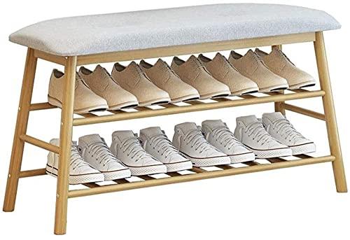 LOGGO 84 cm 2 Nivel Banco de bambú Banco Espacio Saving Saving Heavy Duty Shoe Storage Shelf para el vestíbulo de Entrada del Armario Fácil de Montar el diseño Conjunta de tenón