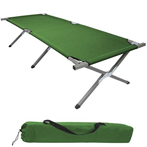 BB Sport Feldbett Klappbett XXL 200 x 70 x 52 cm Stabiles Campingbett bis 150 kg Belastbar Tragbar Tasche Liege Reise Bequem, Farbe:grün