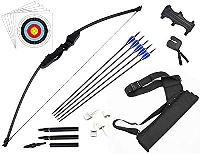 DOSTYLE Archery Takedown Recurve Bow and Arrow Set Hunting Long Bow Kit for Outdoor Shooting Training