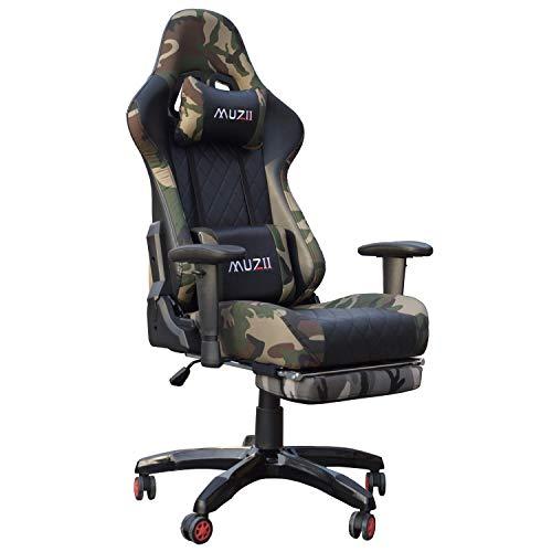 Gharpbik Gaming Stuhl Bürostuhl Schreibtischstuhl mit Armlehne Gamer Stuhl Drehstuhl Höhenverstellbarer Gaming Sessel PC Stuhl Ergonomisches Chefsessel mit Fußstützen (Mit Fußstütze)