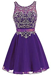 Purple Short Chiffon Dress Rhinestone Beaded Cocktail Gown
