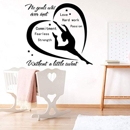 Wandaufkleber Gymnastic Dance Girl Inspirierende Zitat Wandtattoo Kinderzimmer Kinderzimmer Ballett Liebe Leidenschaft Zitat Wandaufkleber Schlafzimmer Vinyl Dekor 56X52Cm