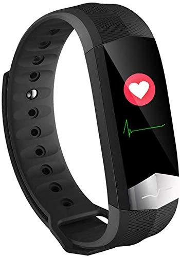 L.TSA Braccialetto Intelligente ECG misurazione della frequenza cardiaca Impermeabile Messaggio promemoria Salute Abbigliamento Smart Watch contapassi Rosso, Nero