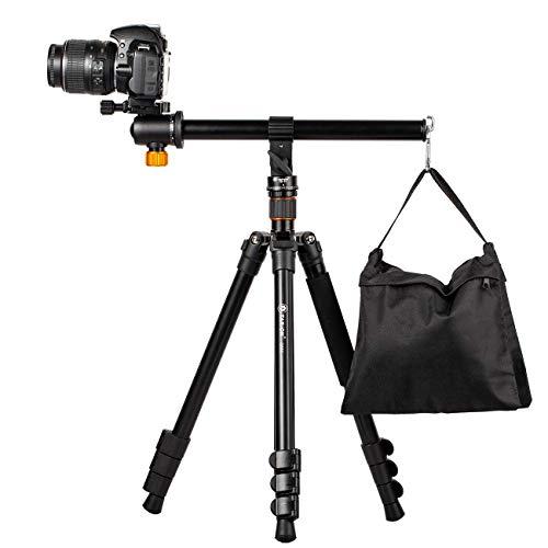 TARION Kamera Stativ mit Transversal Mittelsäule, Aluminium Fotostativ Reisestativ mit 360° Kugelkopf, Schnellwechselplatte und Stativtasche, Umbau in Einbeinstativ