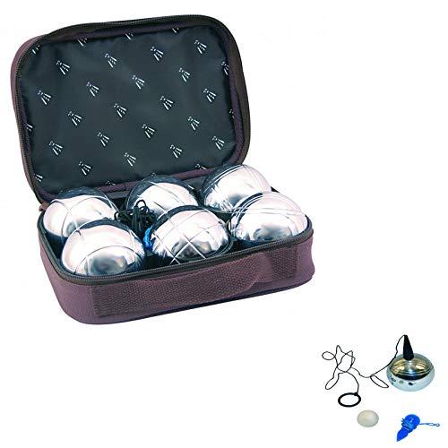[LAGUIOLE pétanque, le jeu de 6 boules fourni dans leur housse avec le cochonnet blanc. Le tout est fourni avec un ramasse boule aimanté et un fil de mesure la boule métal 720 gr l'unité