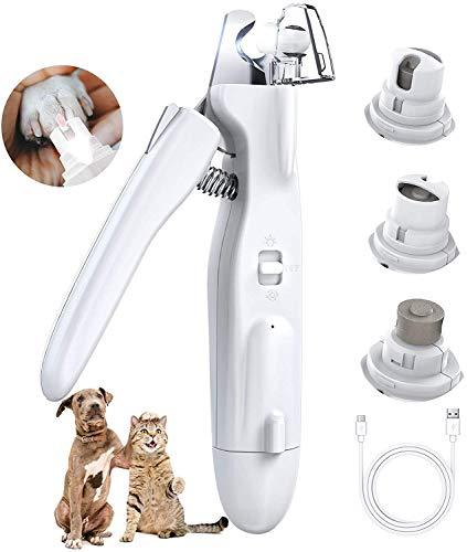PewinGo Krallenschere und Krallen Schleifer für Hunde Katzen, All-in-One mit Ultrahellem LED-Licht für die Blutlinie, vom Tierarzt empfohlenes Trimmwerkzeug für Hunde und Katzen - Weiß