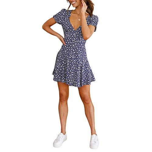 Geagodelia Robe Femme Courte Fleurie Dress E-Girl Ligne A Col en V Robe Vintage Manches Courtes Évasée Serre Taille Jupe Fille Fluide Rétro Mince Casual Chic Mode Robe (Bleu, M)