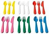 IKEA KALAS 804.213.32 - Cubertería (plástico, 6 cuchillos, 6 tenedores, 6 cucharas, 3 años, más multicolor