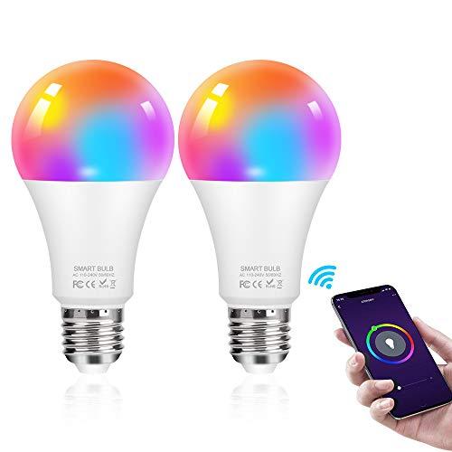 Smart LED Lampe, mixigoo 2 Stück WLAN Glühbirne Dimmbare E27 Birne 10W 950 Lumen LED Alexa Glühbirnen Kein Hub Erforderlich Wifi Bulb Kompatibel mit Amazon Alexa und Google Home, warmweiß