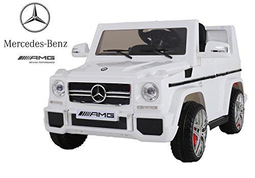 Mondial Toys Auto Macchina ELETTRICA Mercedes G65 AMG Fuoristrada per Bambini 12V con Sedile in Pelle Cintura di Sicurezza A 5 Punti Telecomando Bianca