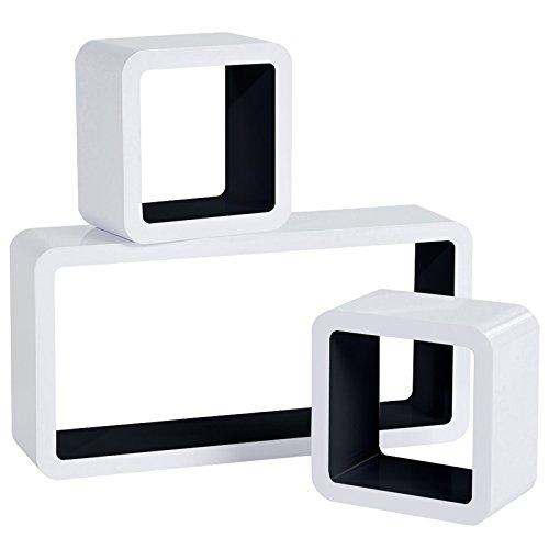 WOLTU RG9229sz Wandregal Cube Regal 3er Set Würfelregal Hängeregal, weiß-schwarz