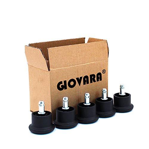 GIOVARA - Juego de 5 ruedas de repuesto para silla de oficina, perno de 11 mm x 22 mm, 50 mm de diámetro, color negro