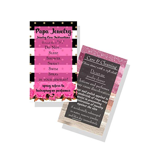 Jewelry Cleaning and Care Cards | Pack of 50 | Pink and Black Striped Floral Design | Jewelry Bling Queen Care Instructions