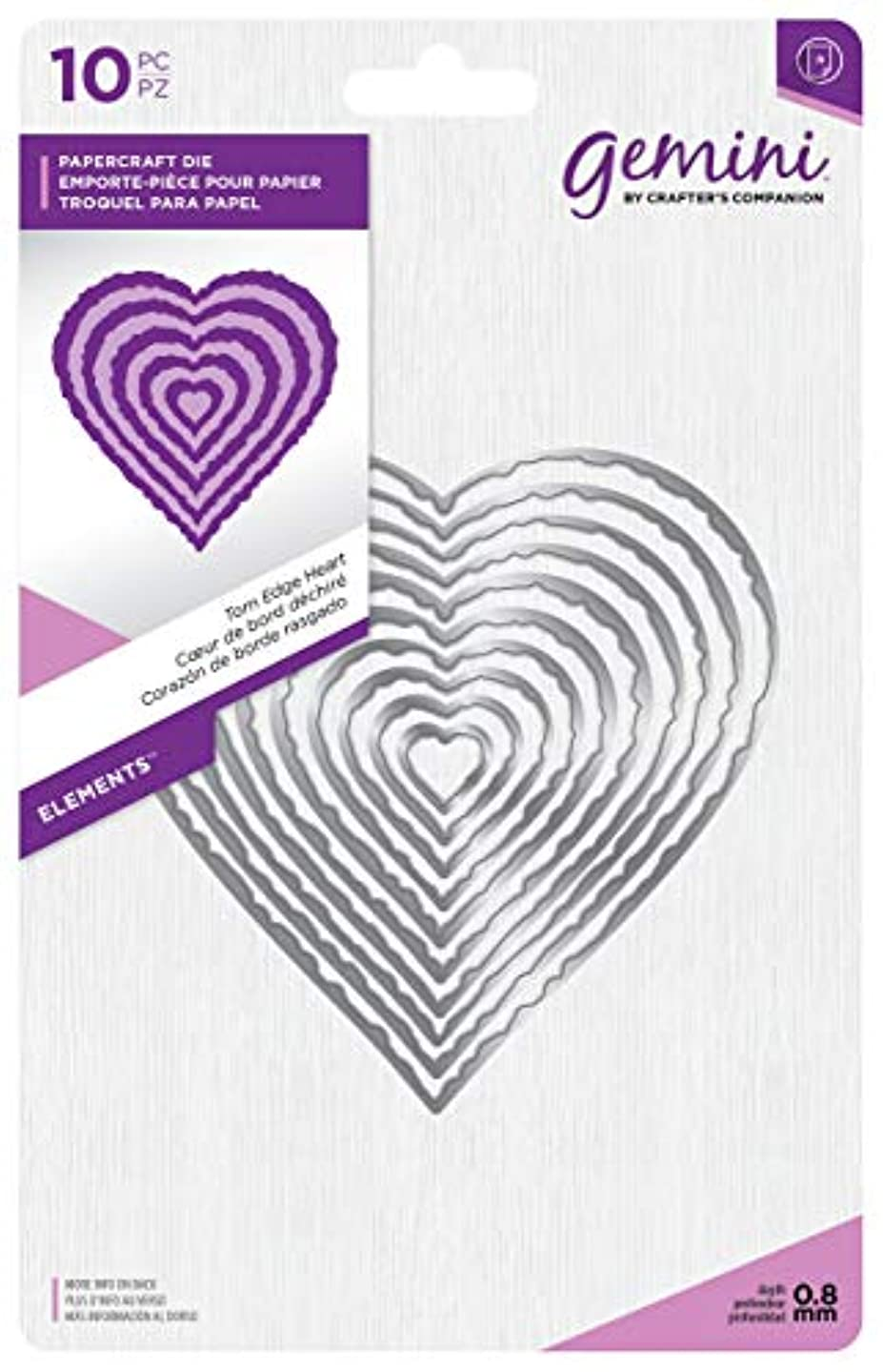 Gemini Elements-Torn Edge Heart, Silver, Various