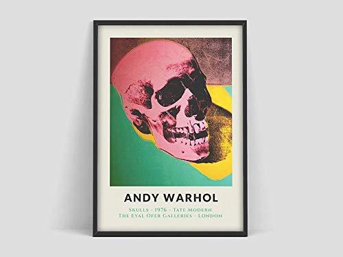 Póster de Andy Warhol Skull, impresión de exposición de arte, minimalista moderno, arte de pared de Warhol, museo de arte moderno, lienzo sin marco x 40x60cm