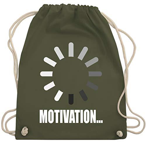 Shirtracer Nerds & Geeks - Lade Motivation. weiß - Unisize - Olivgrün WM110 - Turnbeutel und Stoffbeutel aus Baumwolle