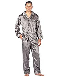 Men's satin pajama in silver grey color with long sleeves and legs.