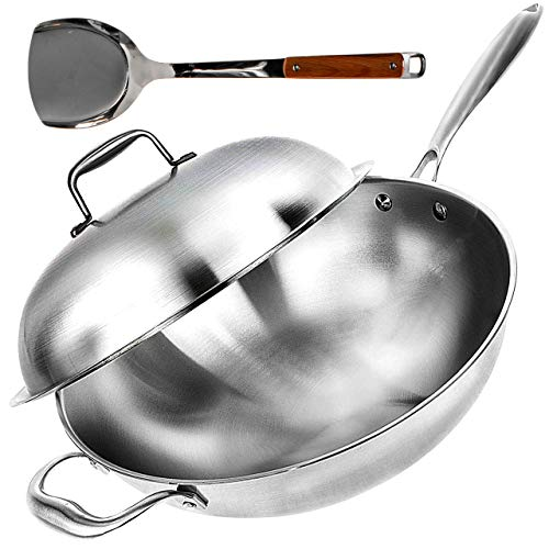 Wok Pan with Lid - 13' Wide, 2mm Thick Stir Fry Frying Pan Stainless Steel – Non Stick, Scratch Resistant, Oven Safe - Bamboo Spatula Included