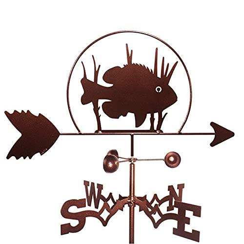 ZOSUO Veleta de metal con soporte de montaje para pesca y viento, diseño de pescado, orientación oriental, suroeste, norte, indicación, herramienta de medición