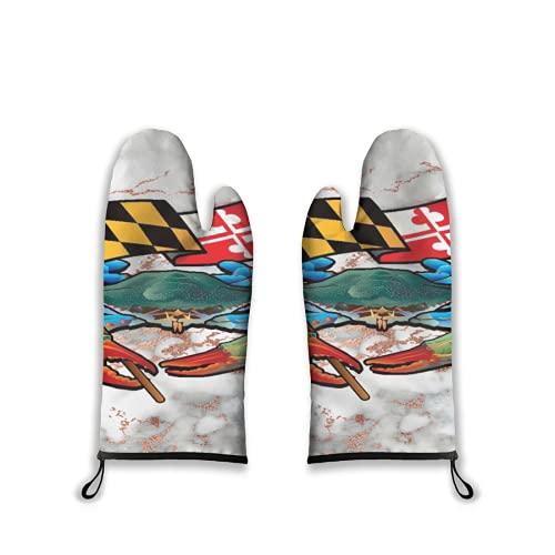 Manoplas para Horno 2 Piezas,Cangrejo Azul Maryland Lindo,Guantes para Barbacoa con Almohadillas Calientes Resistentes al Forro Acolchado