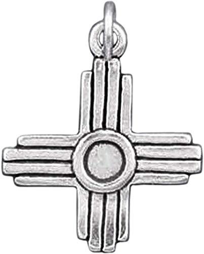 Zia Native American Sun Symbol New Mexico .925 Sterling Silver Charm - Jewelry Making Pendant Bracelet