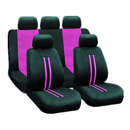 EET Fundas De Asiento De Coche Poliéster 9Pc Asientos Delanteros Y Asientos Traseros Conjunto Completo Seat Protectors Compatibles con Sedan/SUV/Pickup/Van, Lavable,Púrpura
