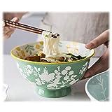 Zixin Porcelana porción de Tazones, 650 ml de cerámica Desayuno tazón de Cereales, la porción de gachas de Avena, Fideos, Ensalada, Ramen (Color: 4PCS, tamaño: C-15 CM / 6 pulg)