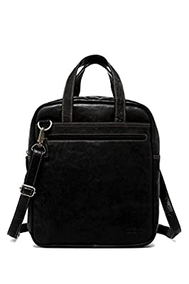 Jack Georges Voyager Convertible Leather Crossbody Bag/Duffel Bag in Black
