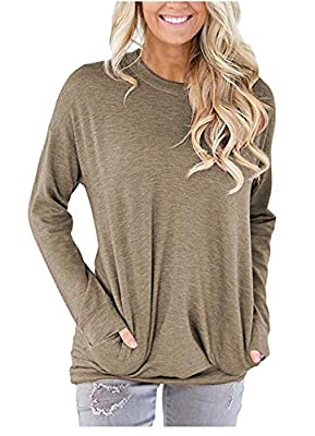 onlypuff Women's Casual Solid T-Shirt Batwing Long Sleeve Tunic Tops Round Neck Loose Comfy with Pockets (Large, Khaki)