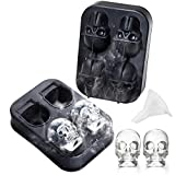 3D Skull Ice Cube Mold - Edible Grade, Skull Ice Cubes for Whiskey, Scotch, Cocktail and Liqueur or Jelly,Candy,Chocolate Mold-Black,Party,Halloween Gift for Kids,Friends