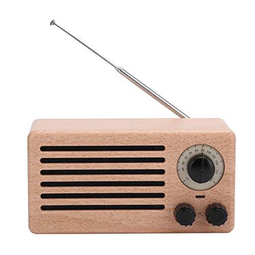 Dpofirs Retro Mini Bluetooth 4.2 + Altavoz EDR, Subwoofer estéreo de Audio de Graves Radio FM con Altavoz Doble HD de, Tarjeta de Memoria de Soporte/Radio FM/USB/AUX(Grano de Madera de Puntos)