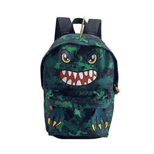 HiFenly Lightweight Kids Backpack for Kindergarten or Elementary Child Cute Dinosaur Bookbag Durable Travel Bag for boys (Dinosaur green)
