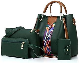 النساء حمل حقيبة حقائب مجموعة 4 قطع حقيبة كتف واحدة حقيبة يد واحدة واثنين من المحافظ بو الجلود