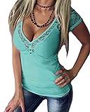 YOINS - Camiseta de tirantes para mujer, diseño de encaje, color verde
