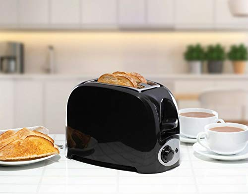 2 Slice Bread Toaster Electric Slide Out Crumb Tray 750W Variable Browning Breakfast Kitchen Office - Black