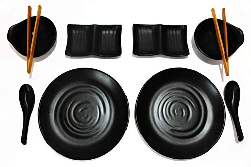 TomYang Geschirr-Set für 2 Personen. Perfekt BBQ - Thai Grill & Hot Pot, Elektro-Grill und Asia Fondue!