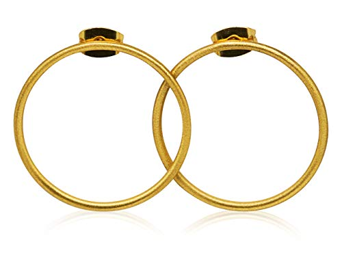 Pendientes bañados en Oro 18k - Redondos Círculo Minimalistas Modernos - Mujer estilo boho minimal chic folk