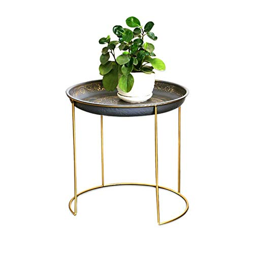 Metalen tuintafel Plant Bloemhouder Planter Thuis staat Bloem Balkon Stand (Kleur: Gouden, Maat: 42 * 42 * 41.5cm)
