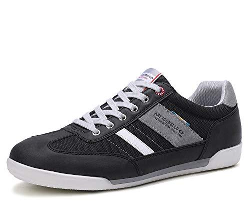 ARRIGO BELLO Zapatos Hombre Vestir Casual Zapatillas Deportivas Running Sneakers Corriendo Transpirable Tamaño 41-46 (42 EU, Gris Negro)