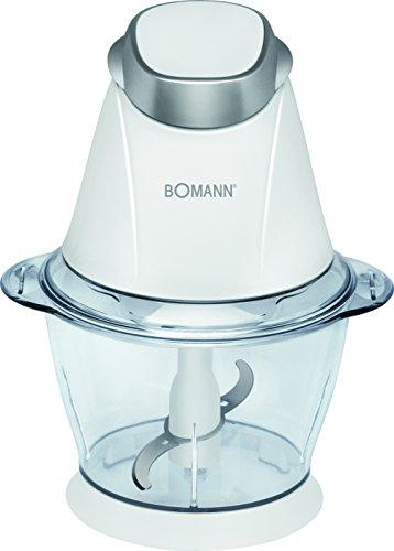 Bomann MZ 449 CB Picadora multiusos, función pica-hielo, 250 W, 1 Liter, Acero Inoxidable, Blanco