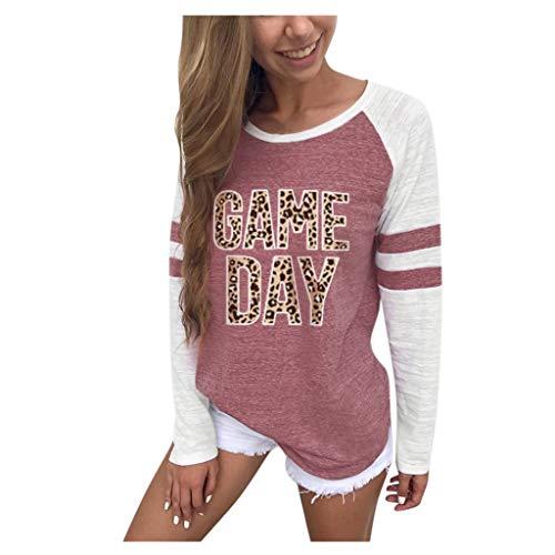 SatinGold Damen Gestreift Pulli Langarm T-Shirt Rundhals Ausschnitt Lose Bluse Hemd Pullover Oversize Sweatshirt Oberteil Tops Shirts