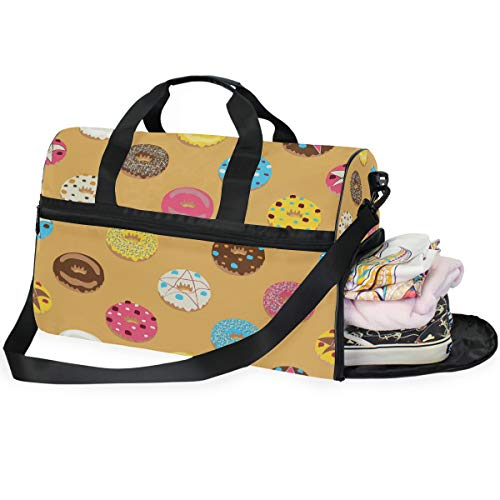 Duffle Bag Chocolate Donuts Cartoon Cute Funny Food Large Gym Bag Sport Duffel Bag for Women Men Traveling