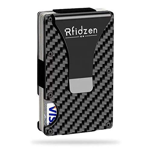 Tarjetero RFID Cartera de Tarjetas Tarjetero Hombre,Slim Moda RFID Billetera de Fibra Carbon Wallet