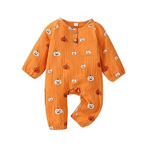 Alaurbeauty Mono para bebé recién nacido, niño, niña, Halloween, mono de calabaza, mono de manga larga, una pieza, otoño, invierno, A-naranja., 3-6 Meses