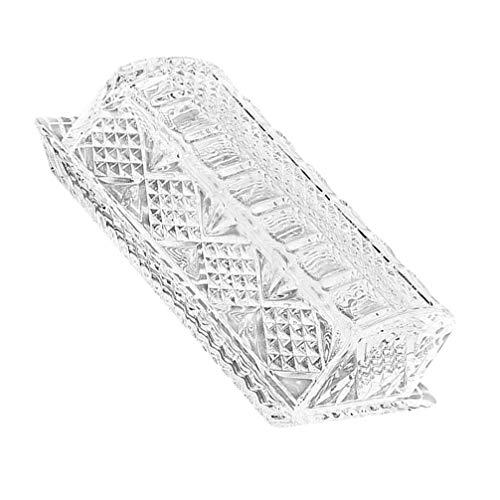 Angoily Recipiente de Mantequilla de Cristal con Tapa Plato de Mantequilla Rectangular Plato de Mantequilla de Cristal Caja de Pan para Almacenamiento de Mantequilla de La Este