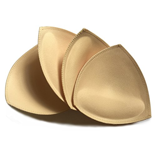 2 Pairs Removeable Push up Triangle Bra Pads Inserts for Bikinis Top Sport Bra Swimsuit for A B C Cups-Beige