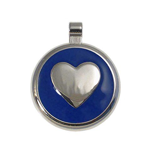 LuckyPet Heart Jewelry Pet ID Tag for Cats and Dogs, Personalized Engraving on The Back Side, Large Blue Heart