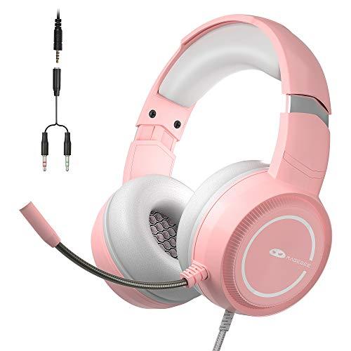 MageGee E6 Gaming-Headset, Kabelgebundene Headphones für PS4 PC Xbox One, Over-Ear Gaming-Headset mit Mikrofon, Verstellbares Kopfband, Lautstärkeregler, 3,5 mm Klinke Gaming-Kopfhörer, Pink
