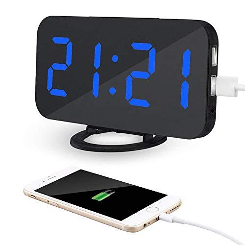 MingXinJia Relojes de Cabecera para el Hogar Reloj Despertador Digital 2 en 1, con Puerto de Carga Doble para Ee. Uu, Reloj Despertador Led con Superficie de Espejo, Rectitud Ajustable, Función, Apt