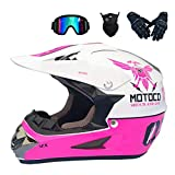 Big Forest Motocross-Helm-Set mit Schutzbrillen-Handschuhmaske, Weiß und Pink, Erwachsene Kinder...
